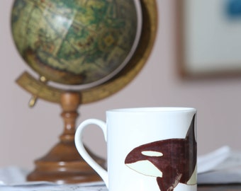 Beautiful handpainted watercolour china mug with orca whale design