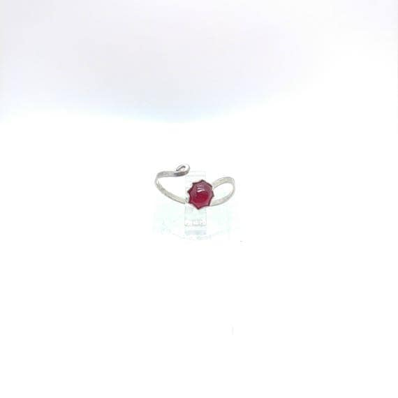 Adjustable Knuckle Ring | Ruby Midi Ring | Sterling Silver Ring Sz 4-6.5 | Red Ruby Ring | July Birthstone Ring | Simple Red Ring