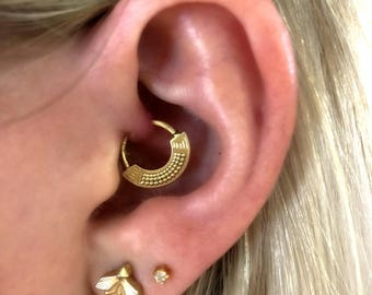 Tribal Daith Earring, Ear Piercing, Tragus Earring, Helix Hoop, Tragus Hoop, Helix Earring, Cartilage Earring, 16g, 18g, Gold or Silver