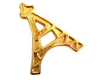 YVES SAINT LAURENT ~ Authentic Vintage Gold Plated Eiffel Tower Brooch/Pin