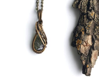 Moldavite Necklace Wire Wrapped Pendant in Copper Wire with Antique Brass Finish