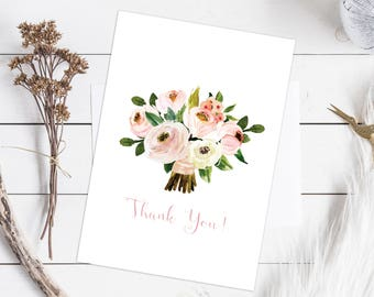 Instant Download Floral Watercolour Thank You Card DIY Printable Wedding Birthday