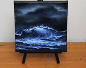 "6x6"" Mini Painting, Original Oil Painting - Seascape Ocean Wave Wall Art"