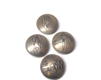 Vintage Sterling Southwestern Horse Pueblo Wolf Bear Button Covers