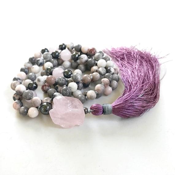 Open The Heart To Love Mala Beads, Pink Zebra Jasper Mala Necklace, Rose Quartz Mala, Yoga Meditation Beads, 108 Bead Hand Knotted Mala