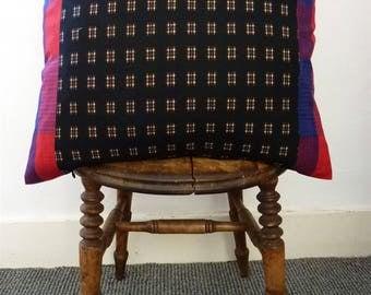 Jazz Deco 30s Style Black Red Blue Kasuri Igeta Check Vintage Japanese Wool Kimono Fabric Pillow Cushion Cover