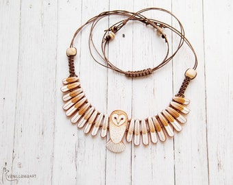 Barn Owl Necklace DISPLAY ITEM - Made to Order - White Gold Owl Bird Wings Jewelry