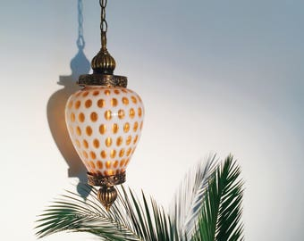 antique fenton glass swag lamp honeysuckle and milk glass hanging pendant lamp orange coin