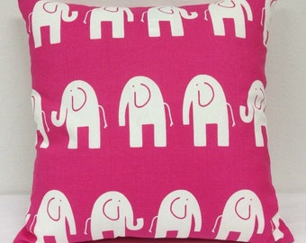 Pink Elephant 18 inch Decorative Pillow Cover