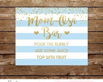 Momosa bar sign printable baby shower mimosa bar sign mom osa sign baby shower bar mimosa bar sign printable baby shower blue and gold 251