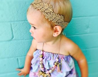 Gold Baby Headband, Gold Leaf Headband, Baby Headband, Leaf Headband, Flower Girl Headband, Flower Girl Crown, Lace Baby Headband, Toddler