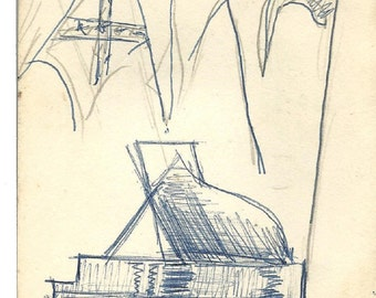 piano flower cart house artist sketchboook pages circa 1950s downloads