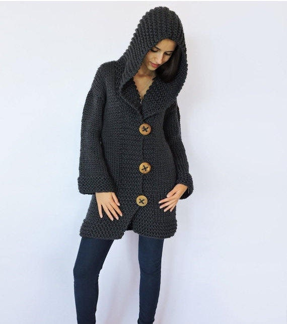 Merino wool cardigan Hand knit black sweater Hooded cardigan