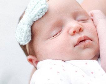 Baby Bow Headband, Newborn Headband, Crochet Bow, Crochet Bow Headband, Nylon Bow Headband, Nylon Headbands, Pink Headband, Baby Headband