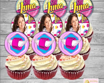 "SOY LUNA Cupcake Toppers, Printable, Birthday Party, Digital File, 2"" Circle, Instant Download"