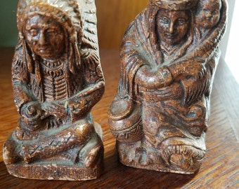 Vintage wood look Indian brave and Squaw salt and pepper shakers