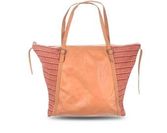 Large weekender bag / Soft leather bags woman / Boho bag / Woman bag / Ethnic bag / Leather shopper / Brown leather shoulder bag / Red print