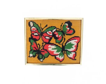 Vintage 70s Retro Kitsch Butterfly Needlepoint Wall Hanging 10 x 8.5