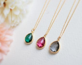 Teardrop Stone necklace in gold, Ruby Pink Necklace, Grey Necklace, Emerald green Necklace, Wedding Jewelry, Bridesmaid gift