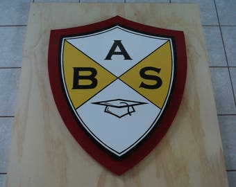 Personalized Wood Business 3D sign. Signage for Business. Custom Carved Wooden Outdoor School/College Logo. School Name Wooden Plaque
