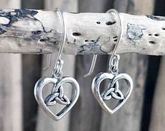 925 Silver Celtic Heart with Triquetra Earrings Silver Celtic  Heart Triquetra Dangle Earrings,Irish Heart Triquetra PEN140