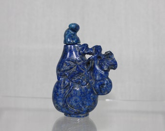 Superbly Carved Lapis Lazuli Chinese Double Gourd Snuff Bottle with Spoon