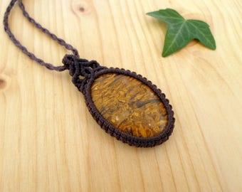 Mariam jasper macrame pendant, macrame jewelry, jasper necklace, macrame stone, gemstone pendant, jasper jewelry, tribal pendant