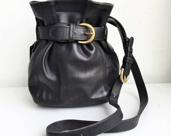 COACH Leather Black Bucket Crossbody Bag #111