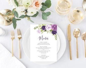 Printable Wedding Menu, Floral Dinner Menu, DIY Wedding, Purple Plum Wedding, Lavender Wedding, Printable Wedding Menu