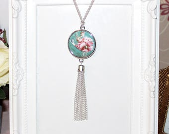 Flapper/Gatsby/1920's Long silver necklace, turquoise/pink rose pendant & tassel