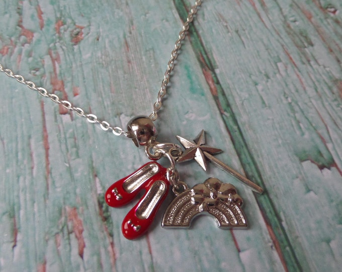 The Wizard of OZ - Somewhere over the Rainbow inspired charm necklace fan gift UK