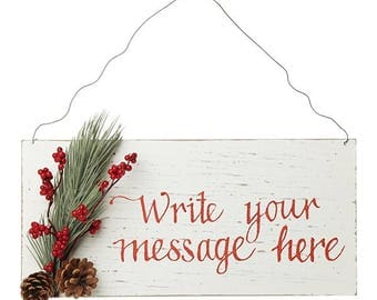 Personalised Country Christmas Wood Plaque with Red Berry