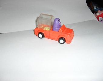 Grimace in Corn Car. McDonalds Happy Meal Toy from 1989. Grimace, Ronald McDonald, Hamburgler, Birdie, Burger, Transformer