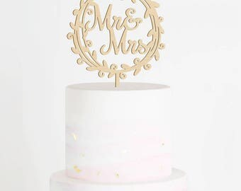 Mr & Mrs Cake Topper, Wedding Cake Topper, Mr and Mrs Cake Topper, Rustic Cake Topper, Wreath Cake Topper, Boho Topper