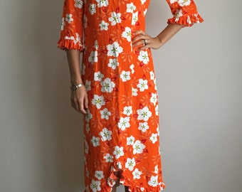 Vintage 1960s Hawaiian Dress *Orange Floral Tiki Beach*