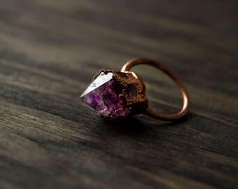 8.5/ Amethyst Point Electroformed Purple Bold Fierce Copper Resin Ring