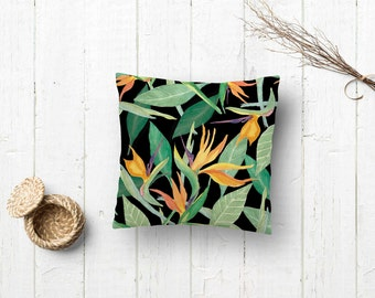 Pillow covers | Floral pillow cases | Watercolor pillow | Tropical cushion | Pillows birds of the paradise | Green pillow cases