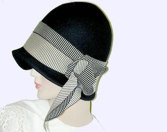 Custom Black Vintage Gatsby Miss Fisher Asymmetrical cloche Downton Abbey hat