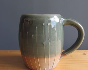 Pottery mug, handmade aqua blue mug, coffee mug, woodfired pottery mug, ceramic coffee mug, gift