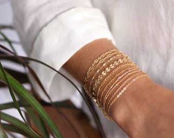 Dainty Chain Bracelet - 14k Gold Filled - Delicate Chain Stacking Bracelet - Bridesmaid Gift - Gift for Women - Layering Bracelet