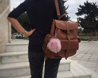 Backpack Women Leather, Satchel, Leather Rucksack, Knapsack, Made in Greece from Full Grain Leather, LARGE.