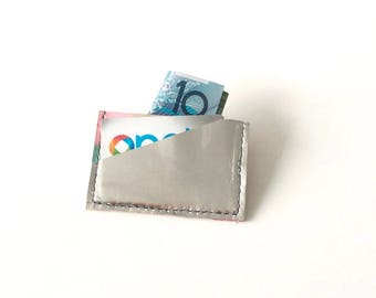 Leather card holder, metallic card case, hand painted wallet