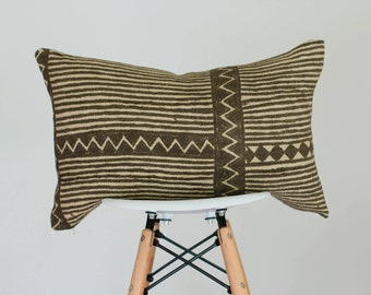 14 x 22 Olive and Cream Geometric and Stripe Design Authentic African Mud Cloth Lumbar Pillow Cover