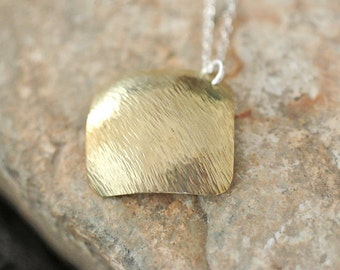 Hammered brass pendant necklace,  Brass square pendant, Hammered necklace, Sterling silver chain, Mixed metal necklace, Minimalist necklace