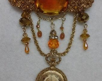 Classic Edwardian Amber brooch watch, nurse lapel watch