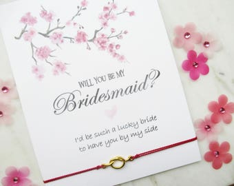 gold tie the knot wish bracelet, bridesmaid proposal, bridesmaid box, bridesmaid bracelet, wish bracelet, will you be my bridesmaid