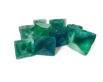 1 Sea Green Blue Fluorite Octahedron Crystal Raw Rough Stone