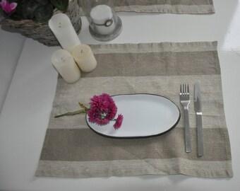 Rustic Linen placemats, set of 6 linen placemats, striped placemats, rustic placemats, country placemats, natural placemats Beige Eco