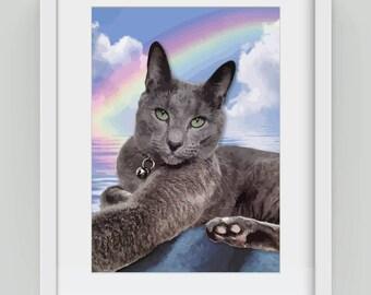 Rainbow Bridge cat, Giclée art print