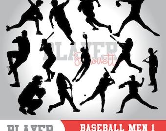 Baseball silhouette clipart, baseball player,softball clipart, athlete silhouette,baseball svg,baseball cut file,cameo or cricut,A-005